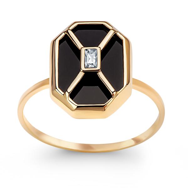 Zdjęcie Art Deco - złoty pierścionek z onyksem i cyrkoniami #1