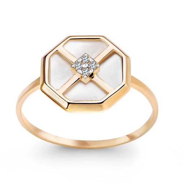 złoty pierścionek z masą perłową YES