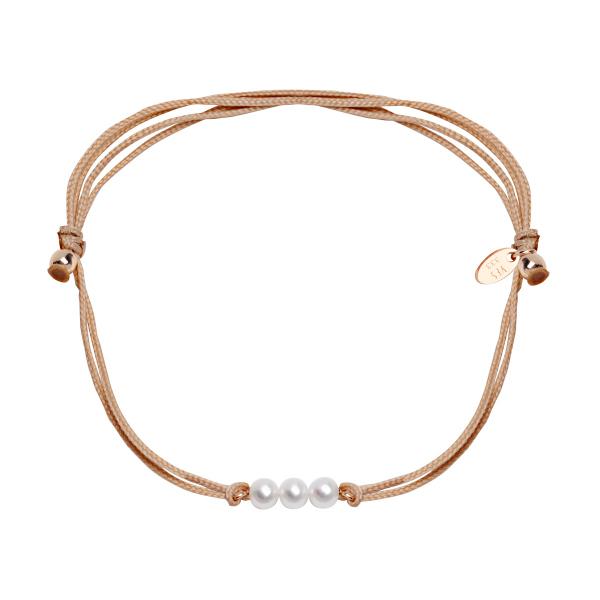 Zdjęcie Bransoletka złota na sznurku z perłami #1