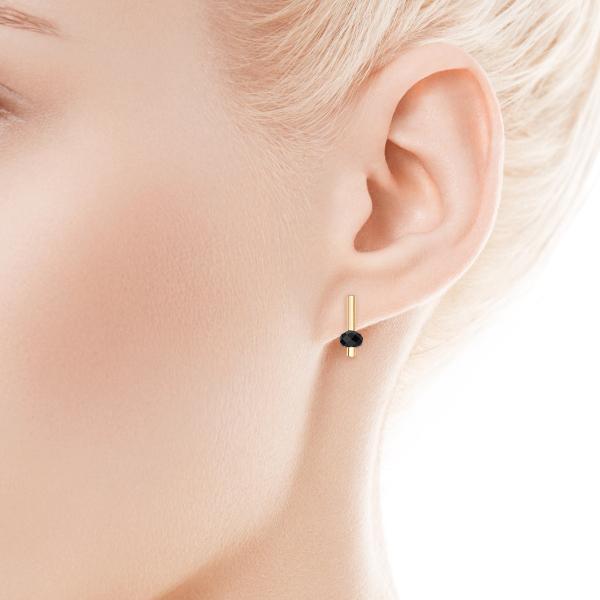 Zdjęcie Loop - kolczyki złote z kryształami Swarovskiego #2