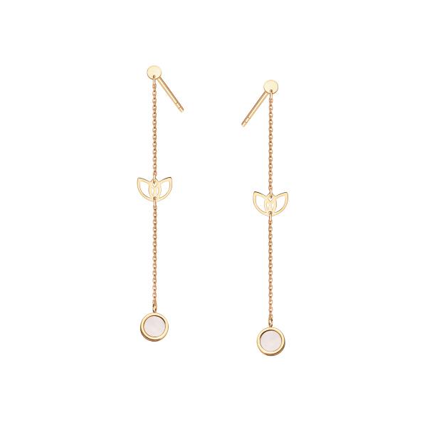 Zdjęcie Magnolia - złote kolczyki z masą perłową #1