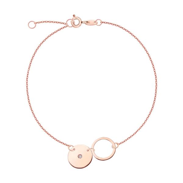 Zdjęcie Bransoletka z różowego złota z diamentem #1