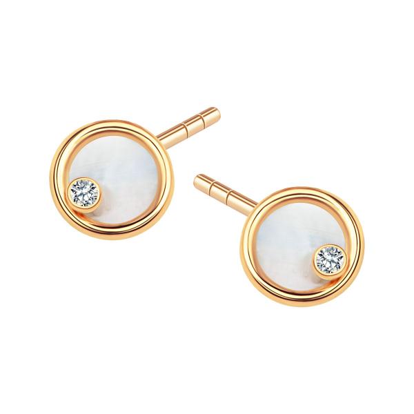 Zdjęcie Złote kolczyki z cyrkonią i masą perłową #1