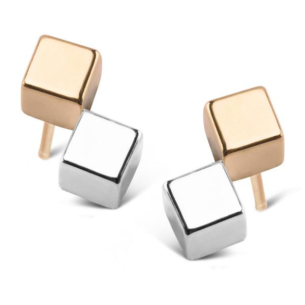 Zdjęcie Mini - kolczyki z dwukolorowego złota #1