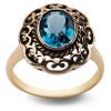 Pierścionek złoty z topazem - Kolekcja Wiktoriańska