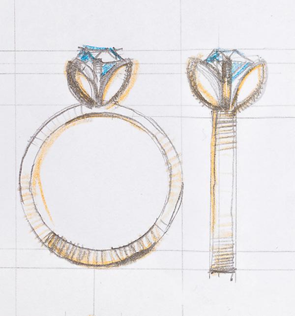kolekcja-lotos-pierscionek-zareczynowy-z-diamentem-Diament-Idealny-YES-szkic