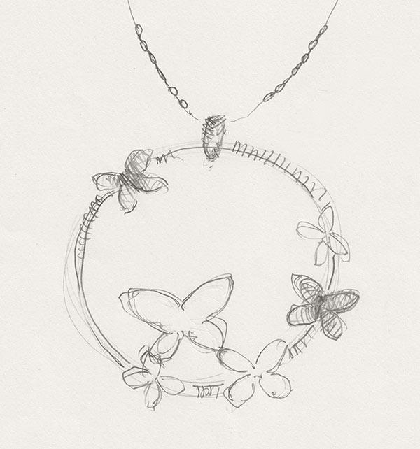 kolekcja-molly-projekt-srebrnego-naszyjnika-wzor-motyle